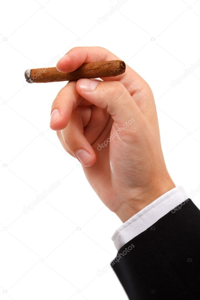 Close view of a hand holding a burning cigar, isolated on white — Stock Photo #4012173