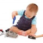 ragazzino giocando con strumenti — Foto Stock #4189917