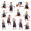 Collage of little boy playing with tools — Stock Photo