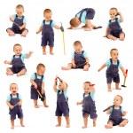 collage de niño jugando con herramientas — Foto de Stock