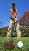 Addressing the ball on the fairway — Stock Photo
