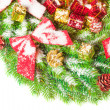 Green branches of a Christmas tree - Stock Photo