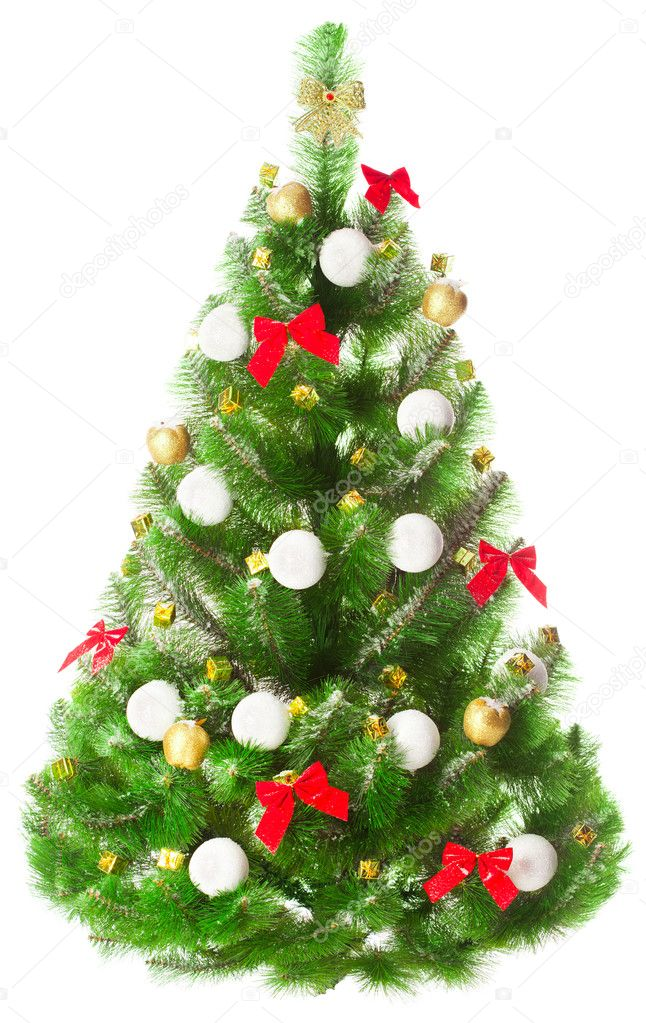 Elegant Christmas tree on a white background decorated with toys — Stock Photo #5112224