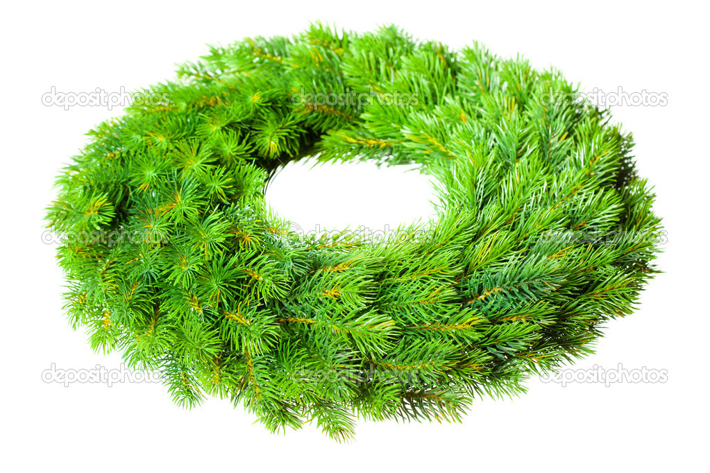 Green round Christmas wreath on white background — Photo #5112229