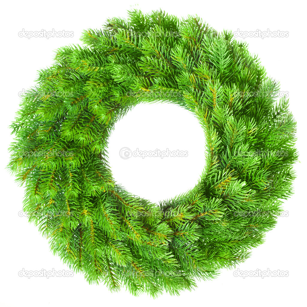 Green round Christmas wreath on white background — Foto de Stock   #5112381