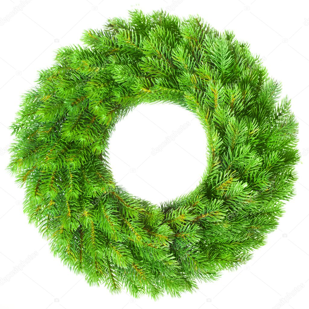 Green round Christmas wreath on white background  Photo #5112381