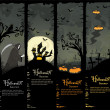 Four Halloween banners — Vettoriali Stock