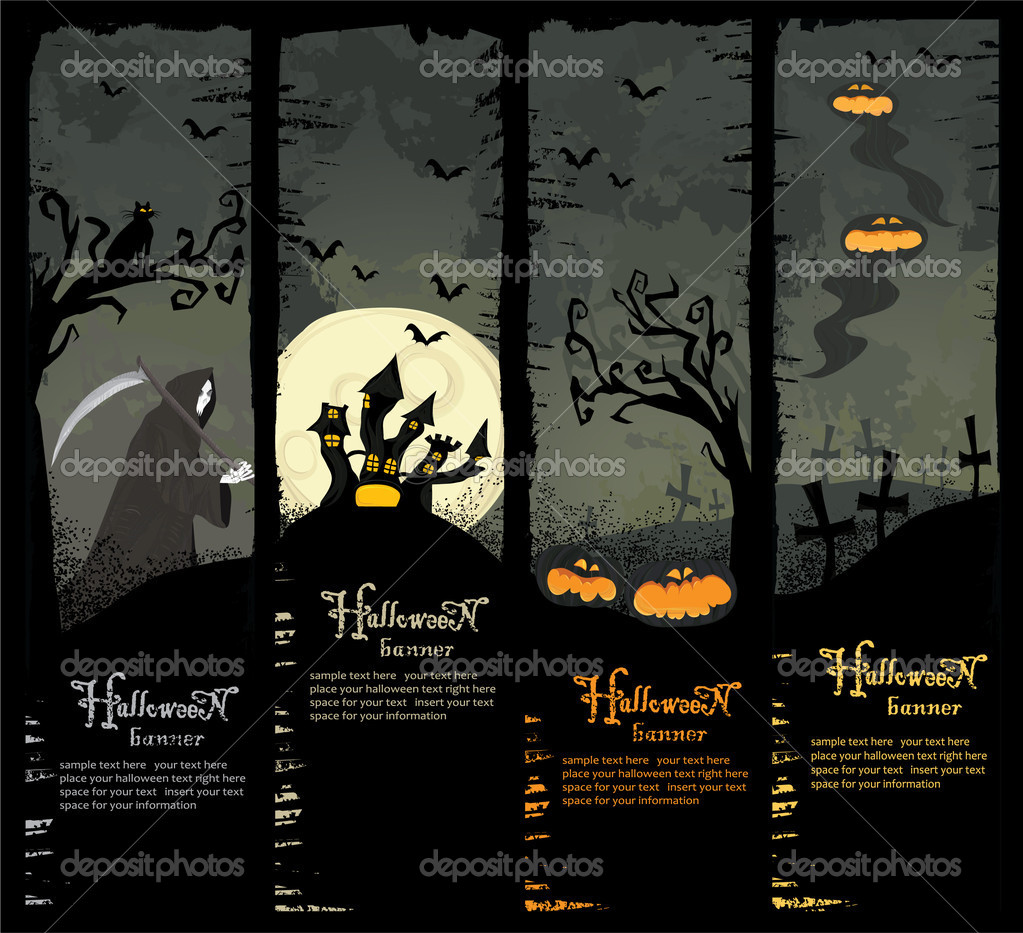 Set of four Halloween banners. Standard size. — Stock Vector #3960433