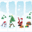Stock Vector: Four Christmas banners