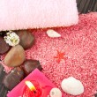 Pink spa setting on natural wood — Stock Photo