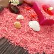 Stock Photo: Pink spa setting on natural wood