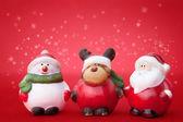 Santa, Rudolph and Snowman — Stock Photo