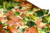 Quiche with salmon and brocoli — Stock Photo