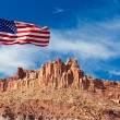US flag in Capital Reef National Park, Utah, USA — Stock Photo
