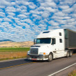 Fast driving truck at countryside, Montana, USA — Stock Photo