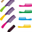 Stock Vector: Set of hairbrushes