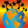 Palm trees on a beach - Imagen vectorial