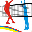 Vector de stock : Game in volleyball