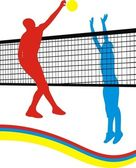 Spel in volleybal — Stockvector