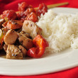 Chicken & Red Peppers/Rice - Stock Photo