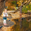 The girl feeds ducks and pigeons — Stockfoto