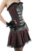 Skinny female torso in corset with belts | Isolated — Stock Photo
