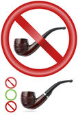 Smoking pipe. 'NO' and 'YES' signs | Realistic vector — Stock Vector