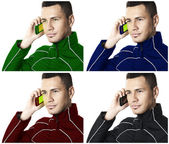 Man with cell phone #2. Colored.| Isolated — Stock Photo