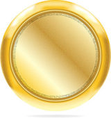 Blank golden button #1 with texture | Vector. AI 10 — Stock Vector