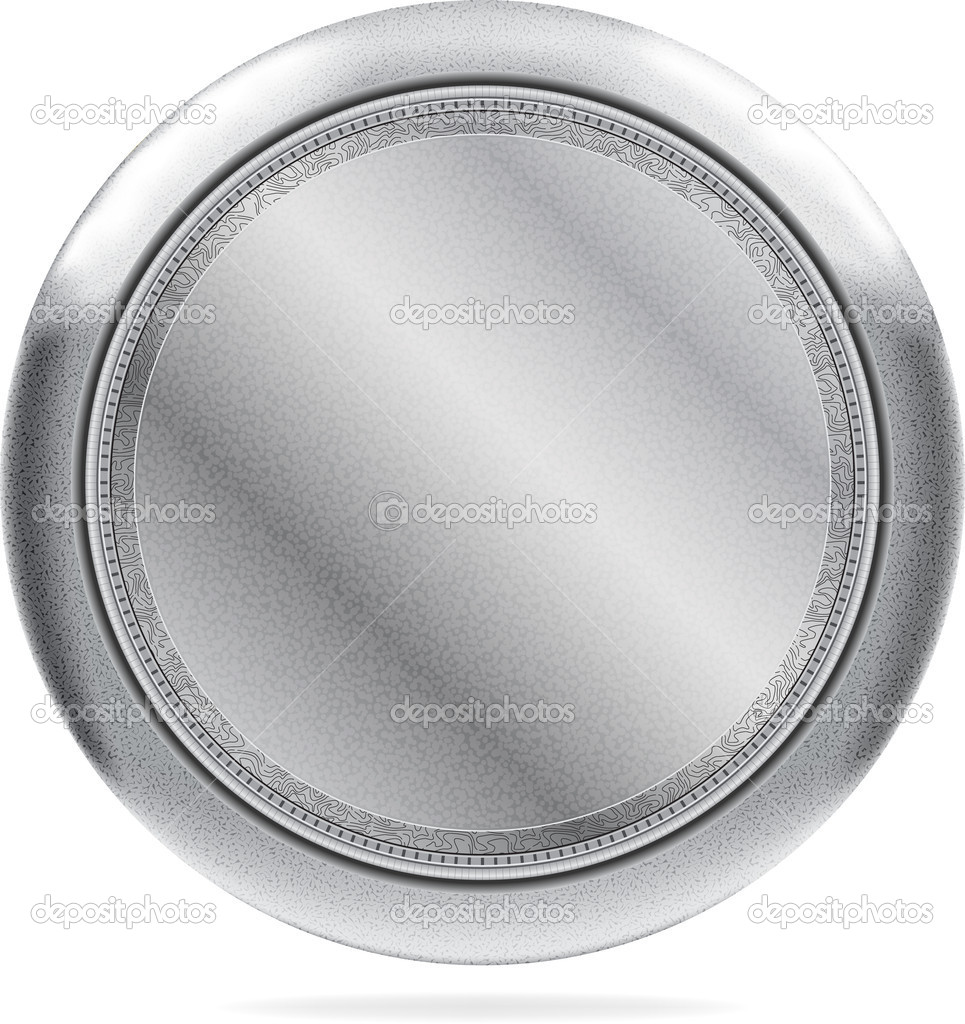 Round shaped steel icon with blank central part. Used vector textures, blends and meshes. Vector image in AI format — Stock Vector #4496066