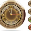 Stock Vector: 5 (or 1) minute till 12. Bronze clocks set #2 | Vector.ai 10