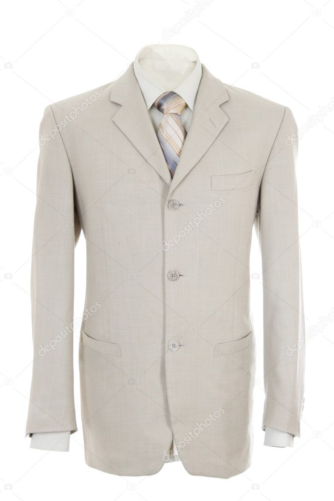 Empty light office jacket for manager. Also light shirt and necktie. Isolated over white — Stock Photo #4596083