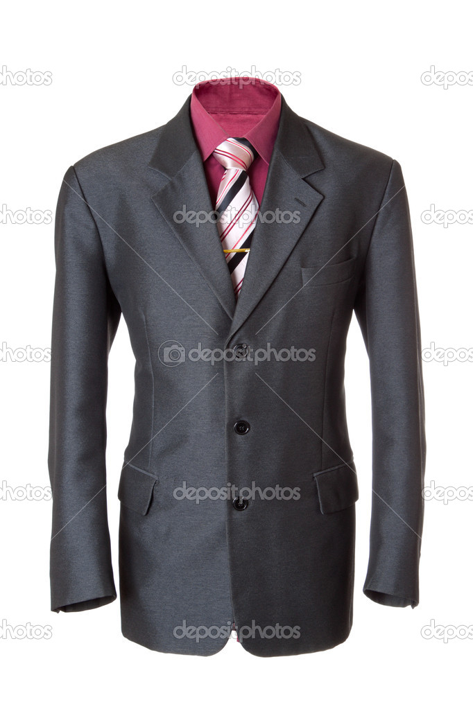 Empty grey office suit. Also red shirt, necktie and golden clip. Isolated over white — Stock Photo #4596150