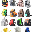 Bagpacks set #1. 15 objects. Front view | Isolated — Stock Photo