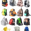 Stock Photo: Bagpacks set #1. 15 objects. Front view | Isolated