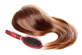 Hair and hairbrush with dandruff | Isolated — Stock Photo