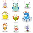 Royalty-Free Stock Imagem Vetorial: Cartoon monsters