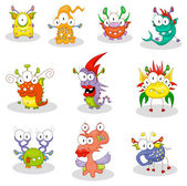 Cartoon monsters, goblins, ghosts — Stock Vector
