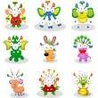 Cartoon monsters, goblins, ghosts - Stock Vector