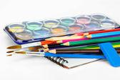 水彩絵の具やブラシ — ストック写真