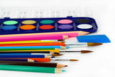Colored pencils and brushes — Stok fotoğraf