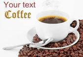 Černá káva — Stock fotografie