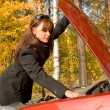 Stock Photo: Girl repairs car motor