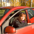 Stock Photo: Young women in cabin of her red car