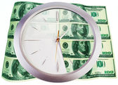 Clock and 100 dollar banknotes on a white background — Stock Photo