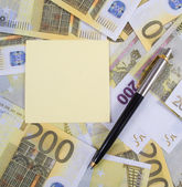 Autocollant pour notes sur des billets de 200 euros — Photo