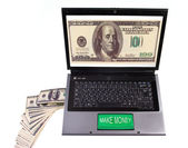 "Computer with the big green button ""Make money"" — Stock Photo"