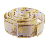 Spiral of 200 euro banknotes — Photo