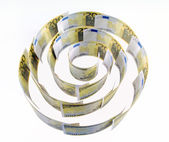 Spiral of 200 euro banknotes on the white — Stock Photo