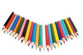 很多在白色背景的彩色铅笔 — 图库照片